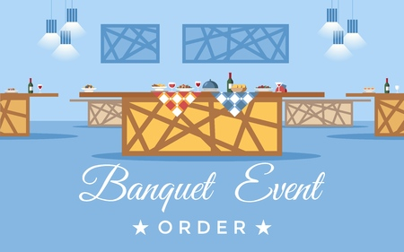 Banquet room, hall flat vector illustration. Restaurant, event center interior design. Cartoon buffet with calligraphy. Table reservation. Holiday catering service poster, banner, website page concept