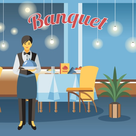 Banquet hall, room flat vector illustration. Restaurant interior design with calligraphy lettering. Catering service. Event center. Waitress hold tray with lid cartoon character. Served table drawing