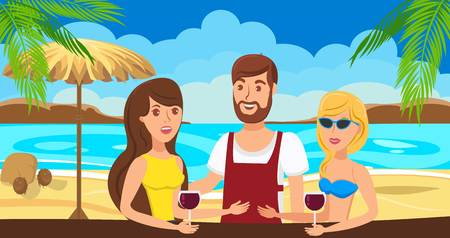 Sea resort flat vector illustration. Two girls meeting with young man. Friends talk at beach bar. Barman flirts with girlfriends. Holidaymakers, tourists cartoon character. Summer vacation banner idea