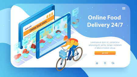 Internet Food Store. Boy by Bicycle Delivers Order. 24 7 Online Food Delivery Service. Buy with Mobile App and Tablet. Supermarket Showcase in Device. Web Site Landing Page. Isometric Illustration