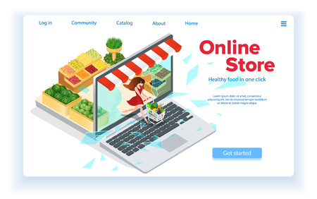 Small Woman Leaves Internet Shop. Web Site Landing Page Concept. Broken Screen. Online Store in Laptop. Buy Healthy Food Online. Customer with Grocery Cart. E-Commerce. Isometric Vector EPS 10. Ilustração
