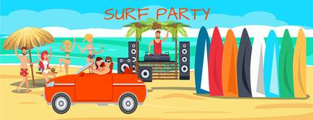 Surf party illustration with lettering. Sea resort activities. Young people with surfboards on ocean beach. Surfers dancing, driving car cartoon characters. Summer time banner flat template