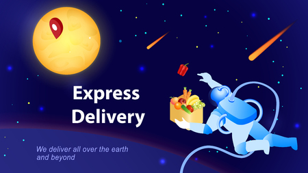 Astronaut Delivers Food Order. Express Delivery Concept. E-Commerce. Sales and Marketing. Global Shipping Service. Cosmonaut in Space. Advertising Banner Design. Isometric