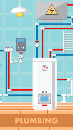 Plumbing Concept Flat Vector Illustration. Boiler Room Equipment. Radiator, Water Pipe, Electrical Panel. Blue Checkered Wall. Heating System. Hot, Cold Water. Print Color Design Drawing, Text Space