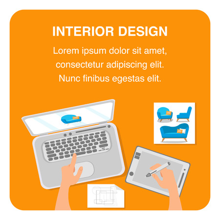 Interior Design Flat Vector Banner Template. Isolated Workspace Color Illustration. Hand Drawing Armchair Design on Graphics Tablet and Laptop. Architecture Company Poster, Text Space, Frame Ilustracja