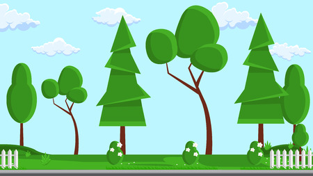 Landscape Design Flat Vector Illustration. Tree, Fence Design Element with Text Space. Web Banner, Poster, Idea. Green Plants, Sky Background Design Element Natural Clipart. Brochure, Book Page Idea