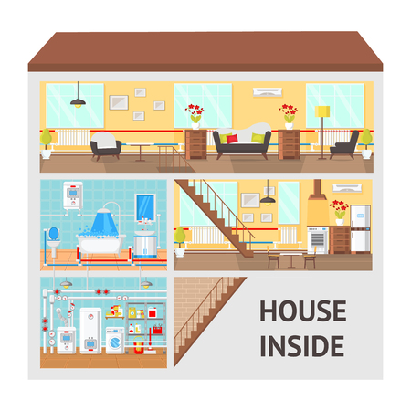 House Inside Concept Flat Vector Illustration. Living Room, Kitchen, Bathroom, Laundry, Boiler Room. Article Page, Website. Building Clipart with Text. Home Indoor Interior. Print Color Design Drawing