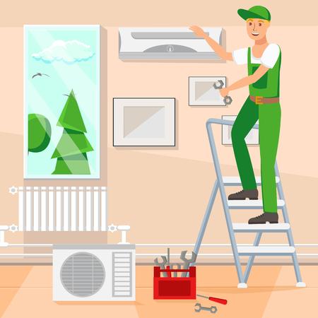 Repair Design Flat Vector Illustration. Repairer Fix Air Conditioning Cartoon Character. Web Banner, Poster Idea. Ladder, Tool Box, Split System, Air Conditioning, Tools. Repairing Company Banner Иллюстрация