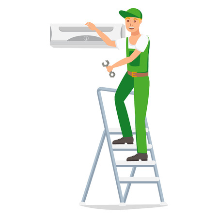 Repairman Vector Design Character. Man Hand Holding Tool. Workman on Ladder Fixes Air Conditioning. Repair Flat Cartoon Drawing Illustration. Printing Clipart. Repairing Company Banner Design Element Ilustração
