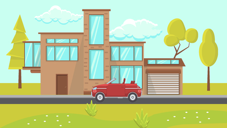 House Exterior Design Flat Vector Illustration. Contemporary Building Surrounded by Trees in Field. Web Banner, Poster, Idea. Plant, Flower, Red Car, Sky, Window, Garage. Modern Apartment Architecture