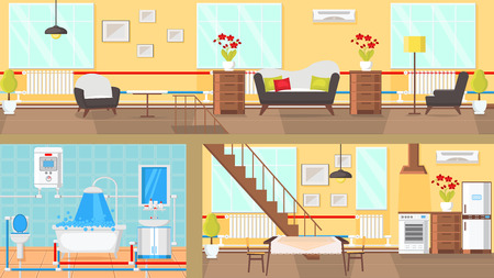 Rooms Interior Concept Flat Vector Illustration. Living Room, Bathroom, Dining Room, Kitchen. Article Page, Website. House Part Decoration Clipart. Home Indoor Interior. Print Design Drawing Idea