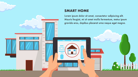 Smart Home Flat Design Vector Illustration. Building and Garden Plants Color Clipart. Hand Holding Graphics Tablet with Controller. Construction Company Banner. Poster Design with Text Space
