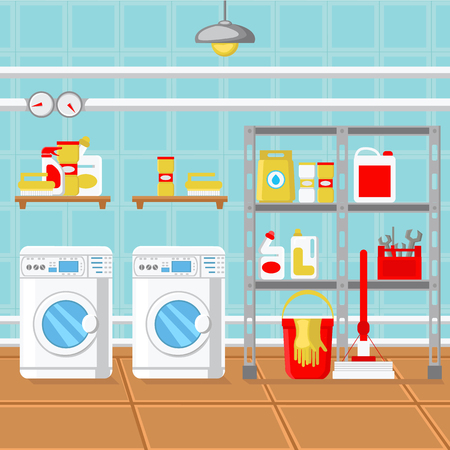 Laundry Room Flat Design Vector Illustration. Contemporary Utility Room Decoration. Boiler, Washing Machine, Detergents, Bucket, Gloves, Pipes, Detergents, Tools. Cleaning Company Brochure Page Idea Illustration