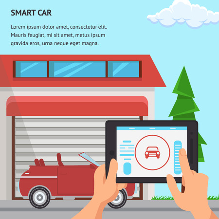 Smart Car Flat Design Vector Illustration. Garage, Red Automobile and Spruce Color Clipart. Hand Holding Graphics Tablet with Controller. Online Shop Banner. Car Showroom Poster Design with Text Space