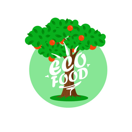Eco Food Cartoon Vector Illustration. Fruit Tree, Orchard Farms. Organic Agriculture Concept. Apple Tree With Hand Drawn Lettering Isolated Clipart. Logo, Poster, Banner Flat Design Element Çizim