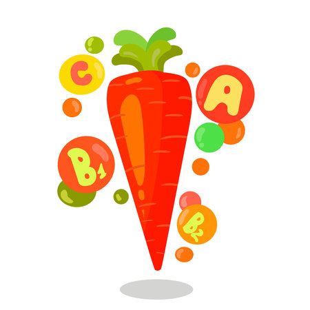Raw Vegetable Rich in Vitamins Vector Illustration. Carrot Isolated Drawing. Carotene, Nutrition, Minerals Enriched Food. Healthy, Organic, Eco Products. Farmers Market. B1, C, B2, A Vitamins