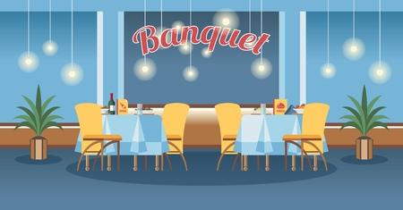 Bankettsaal, flache Vektorillustration der Halle. Restaurant, Innenarchitektur des Veranstaltungszentrums. Cartoon servierte Tische mit Kalligraphie-Schriftzug. Catering-Service-Poster, Banner, Website-Seitenkonzept