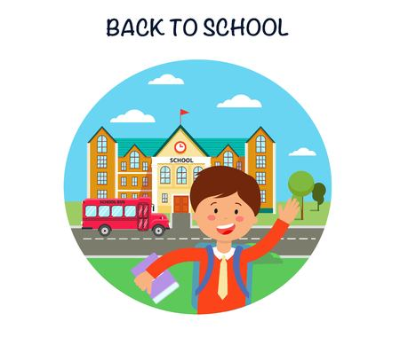 Back to school poster flat vector illustration. 1st September. First day of school. Schoolboy waving hello. Schoolchild cartoon character. Day of knowledge banner, greeting card concept and lettering Иллюстрация