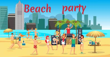 Beach party banner flat template. Sea resort. Young people in swimsuits dancing, have fun on ocean beach. Teenage holidaymakers, tourists cartoon characters. Summer time illustration with lettering