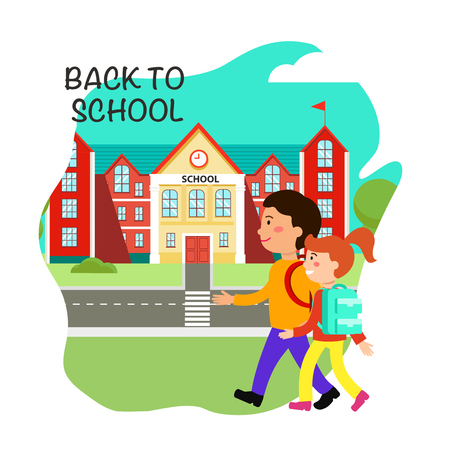 Back to school poster flat vector design. 1st September. First day of school. Schoolchildren, schoolkids, students cartoon characters. Day of knowledge banner, greeting card concept with lettering