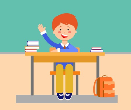 School lesson flat vector illustration. Student raising, putting up hand for answer. Schoolboy, cartoon character. Schoolkid sitting at desk with books, backpack. Elementary school education concept Иллюстрация