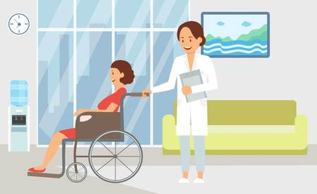 Inpatient Treatment in Hospital Flat Illustration. Health Worker and Patient Cartoon Color Character. Clinic Interior Decoration Clipart. Nurse Carries Sick Disable Woman in Wheelchair.