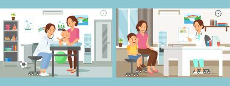 Pediatrics Care Clinic Flat Vector Illustration. Reception in Doctor Office. Mother and Child Cartoon Character. Health Color Banner. Children Healthcare Clinic Interior. Brochure, Article Page Idea