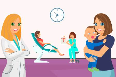 Woman Gynecological Examination Flat Illustration. Doctor in White Coat and Mother with Baby. Women Cartoon Color Characters. Reception in Doctor Office. Baby Health Caring And Gynecology Illustration