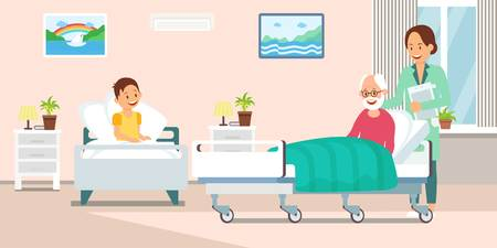 Nurse in Hospital Ward Flat Vector Illustration. Health Worker and Disabled Patient Cartoon Character. Inpatient Treatment. Clinic Interior Design Clipart. Sick Boy and Old man. Disease Therapy Poster Illustration