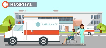 Hospital Ambulance Flat Vector Color Illustration. Hospital Exterior Clipart. Nurse Carries Disabled Woman in Wheelchair on Stroll. Health Worker, Patient Cartoon Character. Medicine and Healthcare