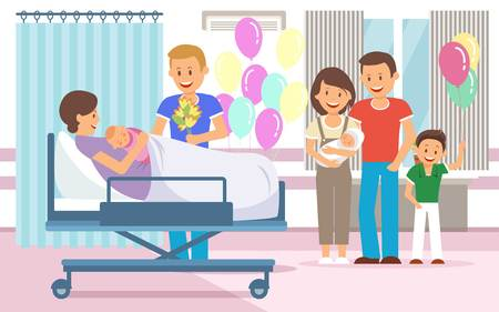Maternity Hospital Discharging Flat Vector Illustration. Mother with Newborn Baby Cartoon Clipart. Hospital Ward. Health Color Poster, Banner. Family Congratulations Child Birth. Brochure Page Idea