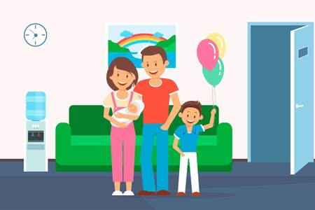 Family in Clinic Room Flat Vector Illustration. Parent with Children Cartoon Color Character. Mother with Newborn Baby. Congratulation with Child Birth. Clipart for Article, Medical Brochure Stockfoto - 117579726