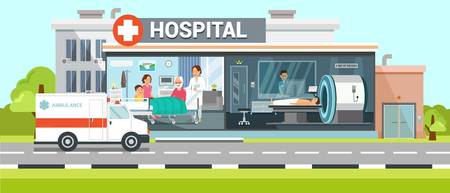 Hospital and Ambulance Flat Vector Illustration Clinic Room Inside Interior. Family Meets Grandfather after Disease Treatment. Health Color Poster, Banner Idea. Ð¡omputed Tomography, Body X-ray Illustration