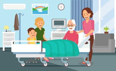 Hospital Discharging Flat Vector Illustration. Children Meet Grandfather after Disease Treatment. Clinic Ward Interior Design. Health Color Poster. Family Cartoon Characters. Geriatric Medicine