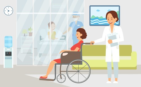 Hospital Treatment Flat Vector Color Illustration. Health Worker and Patient Cartoon Character. Interior Decoration Clipart. Nurse Carries Disable Woman in Wheelchair. Doctor and Sick Person in Clinic