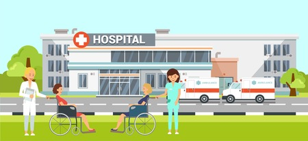 Medical Help in Hospital Flat Vector Illustration. Ambulance Car Clipart. Nurse Carries Sick Woman in Wheelchair on Stroll. Health Worker, Patient Cartoon Character. Medicine and Healthcare Illustration