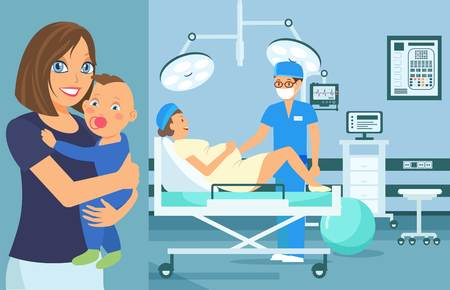 Ilustración de Vector plano de chequeo médico prenatal. Examen ginecológico de la mujer embarazada. Equipo medico. Cartel de dibujos animados de color de salud. Sala de partos. Recepción en Consultorio Médico. Cuidado de la salud del bebé