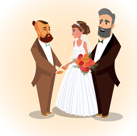 Happy Groom, Bride and Father Vector Illustration. Husband, Dad, Wife Holding Bouquet of Flowers Cartoon Characters. Wedding Ceremony Flat Postcard Concept. Just Married, Newlyweds Clipart