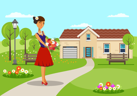 Woman with Bouquet of Asters Vector Illustration. Girl Holding Bunch of Colorful Spring Flowers Design Element. Flat Cartoon Female Character. Nature, House, Village Background. Lady in Elegant Dress