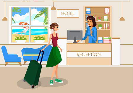 Woman with Luggage in Hotel Lobby Vector Drawing. Tourist Cartoon Character with Suitcase at Reception Desk. Girl Going on Vacation, Business Trip Flat Postcard. Hostel, Motel on Tropical Island Ilustração