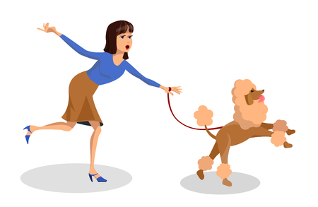 Woman with Poodle Running Vector Illustration. Naughty Pet Cartoon Character. Dog Pulling on Leash Isolated Drawing. Animal Tamer, Trainer. Domestic Animal Flat Clipart. Friendship, Animal Care