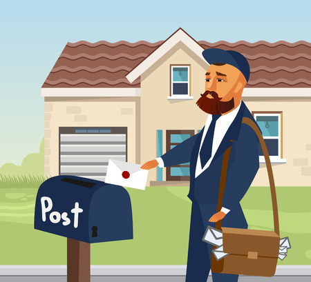 Postman in Professional Uniform Design Element. Mailman Putting Letter in Postbox. Envelope Flat Illustration. Courier with Bag Cartoon Character. Delivery Services Vector Drawing. House, Building Archivio Fotografico - 125151629