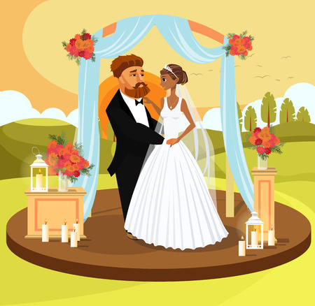 Wedding Ceremony Color Invitation Postcard Concept. Just Married, Wife and Husband Vector Drawing. Arch with Flowers on Picturesque Landscape, Sunset Flat Background. Groom and Bride Cartoon Character