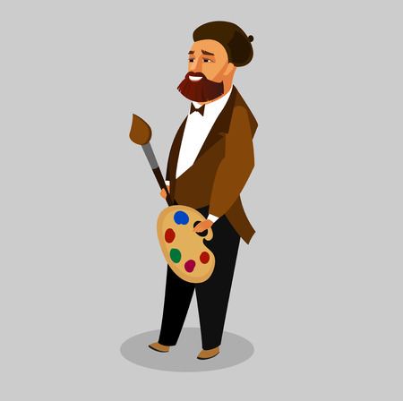 Painter with Art Supplies Vector Illustration. Artist with Palette, Paint Brush Flat Drawing. Creative Man with Beard in Beret Cartoon Character. Fashionable, Stylish Guy. Job, Occupation Clipart