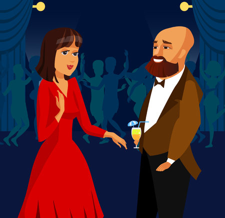 Man and Woman at Party, Event Vector Illustration. Couple Dating. Cool, Stylish Guy Meeting Girlfriend in Night Club. Rich Boyfriend, Bachelor. Elegant Lady Cartoon Character. Dance Floor Flat Drawing
