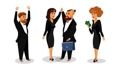 Successful Business Partners Vector Illustration. Investors, Brokers, Bankers Cartoon Characters. Colleagues showing Winner Gesture. Teamwork, Happy Office Workers Signed Agreement Flat Drawing Vektoros illusztráció