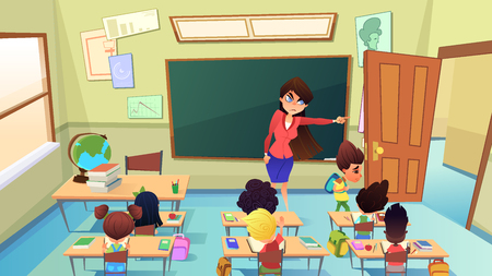 Angry, Annoyed Female Teacher Excluding Guilty Sad Boy from Classroom Cartoon Vector. Pupil Bad Behavior and Discipline, Punishment in Pedagogy, Suspension and Exclusion from Elementary School Concept