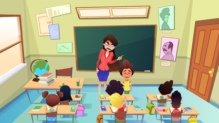Strict, Angry Female Teacher Scolding on Crying Pupil Boy in Elementary School Classroom Cartoon Vector Illustration. Naughty Children Bad Behavior, Nervous and Annoyed Teacher, Punishment in School Illusztráció