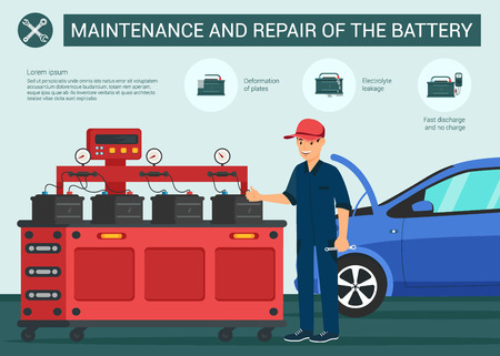 Maintenance and Repair of the Battery. Deformations Plates Electrolyte Leakage Fast Discharge and not Change. Mechanic Checks Car Batteries Show Vector Flat Illustration Banner Cartoon. Illustration