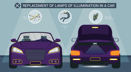 Replacement of Lamps Illumination in Car Vector Flat Illustration. Led for Tuning Led Strip Light Salon Light emitting Diode. Car Dealership Replacement Installation of Additional Light. Illustration